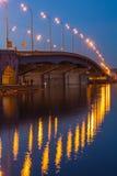 Havana bridge in Kiev at night. Royalty Free Stock Images