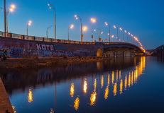 Havana bridge in Kiev at night. Stock Photo