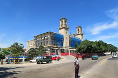 Havana central railway station under reconstruction stock image