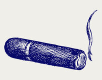 Havana cigar burned. Doodle style Royalty Free Stock Photo