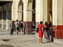 Havana City. Cuba. Havana, Cuba - January 5, 2016: Typical scene of one of streets in the center of La Havana - colonial architecture, people walking around Stock Image