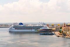 Havana city panoramic view with cruise ship stock photo