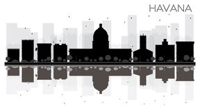 Havana City skyline black and white silhouette with reflections. Vector illustration. Simple flat concept for tourism presentation, banner, placard or web site royalty free illustration