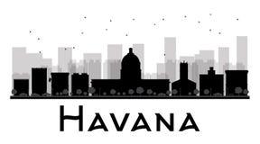 Havana City skyline black and white silhouette Royalty Free Stock Photos