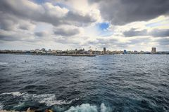 Havana, Cuba: city skyline seen from El Morro lighthouse in daytime Royalty Free Stock Photos