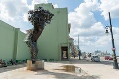 HAVANA, CUBA - OCTOBER 23, 2017: Havana Cityscape with Malecon Avenue and Monument by the street. Havana Cityscape with Malecon Avenue and Monument by the Royalty Free Stock Image