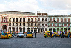 Havana, cocotaxis and crumbling buildings Royalty Free Stock Images