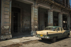 HAVANA/CUBA 2006年7月4日-在街道的老美国汽车  库存照片