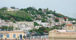 Havana, Cuba. Old colonial buildings in Havana downtown and the bay, Cuba royalty free stock images