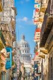 Havana, Cuba Capitolio. Havana, Cuba alley and Capitolio Stock Photography