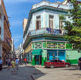 HAVANA, CUBA - APRIL 1, 2012: Aguacate street in old city Royalty Free Stock Images