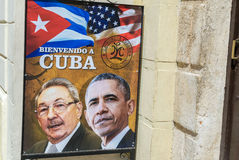 HAVANA, CUBA - APRIL 8, 2016: Poster on city street shows US Pre Royalty Free Stock Image