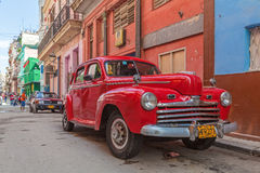 HAVANA, CUBA - APRIL 1, 2012: Red Ford vintage car Royalty Free Stock Images