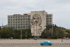 Havana, Cuba - April 13, 2017: Revolution square in the center of Havana with featuring an iron mural of Che Guevara`s face on royalty free stock photography