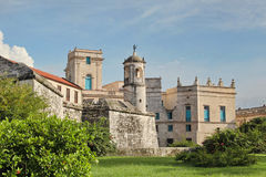 Havana, Cuba: Castillo de la Real Fuerza, with iconic statue La Giraldilla, the city symbol. Havana, Cuba: Castillo de la Real Fuerza `Royal Force Fortress` Royalty Free Stock Images