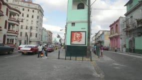 Havana, Cuba. Che Guevara face on the building in Havana at Havana Central district stock footage