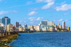 Havana Cuba City Skyline Along the Malecon. With the National Hotel in View Stock Photography