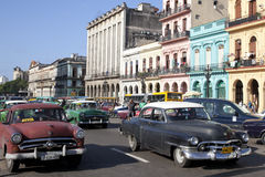 Havana, Cuba. Classic cars and people Royalty Free Stock Images