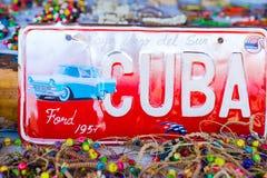HAVANA, CUBA - 14 DE ABRIL DE 2017: Close up do número clássico do vintage no mercado em Havana velho, Cuba T Imagem de Stock Royalty Free