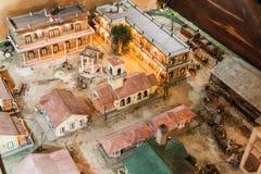 HAVANA, CUBA - 23 DE FEVEREIRO DE 2016: Modelo do moinho de cana-de-açúcar e da fábrica do rum em uma exposição do del Ron Rum Mu fotos de stock royalty free