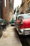 Vintage cars parked in the street of Havana Cuba royalty free stock photography