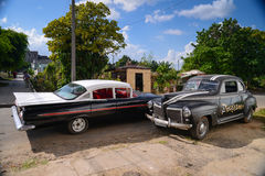 HAVANA, CUBA - DECEMBER 13, 2014 Classic American car park on st Royalty Free Stock Images