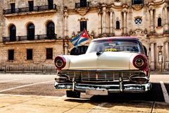 Havana, Cuba, December 12, 2016: Colorful vintage classic car pa. Rked in Old Havana Royalty Free Stock Photo
