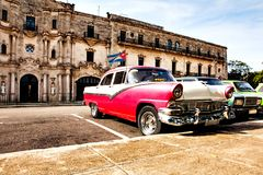 Havana, Cuba, December 12, 2016: Group of colorful vintage class. Ic cars parked in Old Havana Royalty Free Stock Images