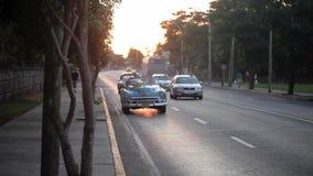 HAVANA, CUBA - DECEMBER 23, 2011: Old convertible car on a street. Driving stock footage