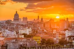Havana, Cuba downtown skyline from Above stock photo