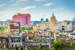 Havana, Cuba downtown skyline from Above. With historic buildings in the day royalty free stock photos