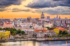 Havana, Cuba downtown skyline. Havana, Cuba downtown skyline with the Capitolio at sunset royalty free stock photo
