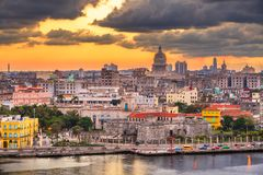 Havana, Cuba downtown skyline from Above stock photos