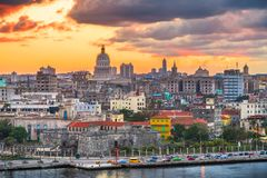 Havana, Cuba downtown skyline at dusk stock photography