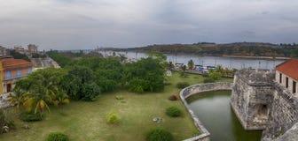 HAVANA, CUBA - FEB 16, 2017: Panoramic view of Old Havana with f Stock Photos