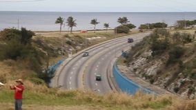 Havana tunnel, Cuba. HAVANA, CUBA - FEB 22, 2016: Traffic at the entrance to Havana tunnel stock footage