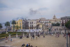 HAVANA, CUBA - FEB 16, 2017: View of Old Havana plaza with canno Royalty Free Stock Photography