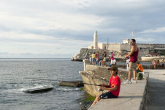 Havana Cuba Fishing on the Malecon Royalty Free Stock Images