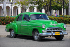 HAVANA, CUBA - JANUARY 26, 2013 Classic American car drive on st Royalty Free Stock Photography