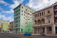 Havana Malecon. The Malecon  is a broad esplanade along the coa. Havana,Cuba - January 21,2017: Havana Malecon. The Malecon officially Avenida de Maceo is a Royalty Free Stock Photos