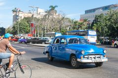 Old car of the fifties circulating in the Old Havana. HAVANA, CUBA - JANUARY 16, 2017: Old car of the fifties circulating in the Old Havana. Before a new law Royalty Free Stock Image