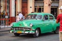 Havana, CUBA - JANUARY 20, 2013: Old classic American car drive. On street of Havana,CUBA. Old American cars are iconic sight of Cuba street Royalty Free Stock Images