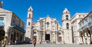 Panoramic of Plaza de la Cathedral in Old Havana with the baroque architecture of San Cristobal Cathedral. stock photos