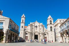 Panoramic of Plaza de la Cathedral in Old Havana with the baroque architecture of San Cristobal Cathedral. stock photo