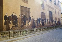 HAVANA, CUBA - JANUARY 27, 2013: `Past mirror`, Andres Carrillo, 2000. The people in 19 century suits visiting the house of the ma Stock Photography