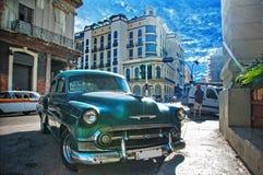 HAVANA, CUBA - 11 JULY, 2016. Green vintage classic American car Royalty Free Stock Images