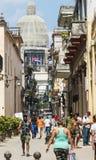 Havana Cuba street view looking toward Capitol building Royalty Free Stock Photo