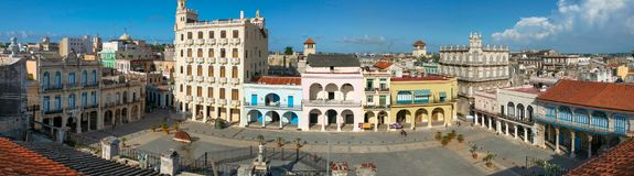 HAVANA,CUBA-JULY 26,2006: The top view of the old square in Havana Plaza Vieja royalty free stock photography