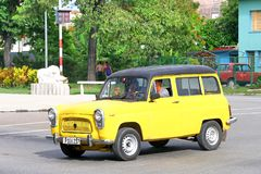 Ford Squire. Havana, Cuba - June 6, 2017: Yellow estate car Ford Squire in the city street Stock Images