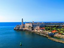 Havana, Cuba light house of La Cabana Fort. On a clear day with a view from the water royalty free stock photo